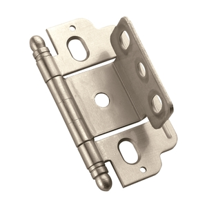 "Amerock PK3180TBG10 3/4"" (19 mm) Full Inset Partial Wrap Ball Tip Cabinet Hinge Satin Nickel Finish"