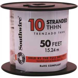 Southwire 22974083 50 ft. 10 White Stranded CU THHN Wire