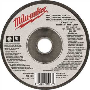 Milwaukee 49-94-4500 4-1/2 in. x 0.045 in. x 7/8 in. Cut-Off Wheel (Type 1)