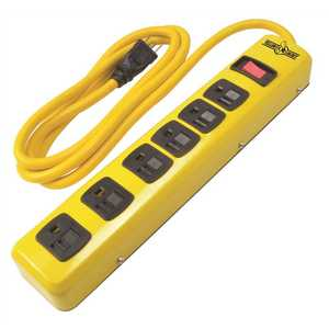 YELLOW JACKET 5139N 6 ft. 6-Outlet Metal Heavy-Duty Power Strip with On/Off Switch