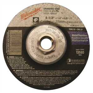 Milwaukee 49-94-4520 4-1/2 in. x 1/4 in. x 7/8 in. Grinding Wheel (Type 27)