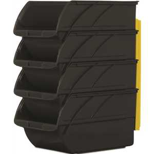 Stanley 057304R 5.9 in. Stackable and Mountable Storage Bins in Black with Hangers Pack of 4