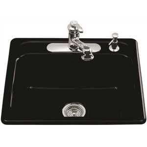 Kohler K-5964-3-7 Mayfield Drop-In Cast-Iron 25 in. 3-Hole Single Bowl Kitchen Sink in Black Black