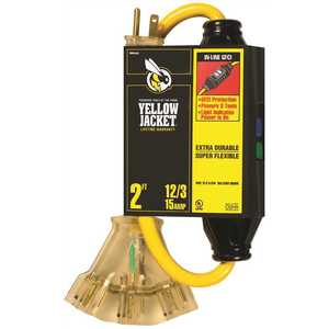 YELLOW JACKET 2816 2 ft. 12/3 SJTW In-Line GFCI Heavy-Duty Cord with Multi-Outlet (3) Power Light Block Yellow