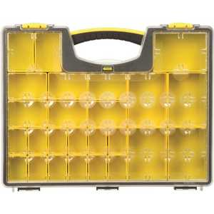 Stanley 014725R 25-Compartment Shallow Pro Small Parts Organizer Clear/Yellow