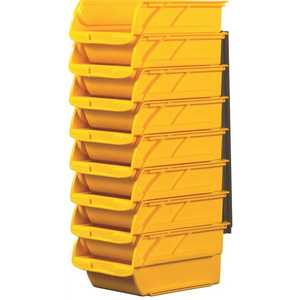 Stanley 057208R Number Two 4-1/10 in. Yellow Stackable and Mountable Storage Bins with Hangers Pack of 8