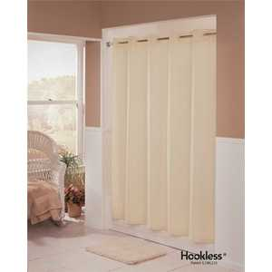Hookless HBH01EBM05 Embossed Moire 71 in. x 74 in. Beige Shower Curtain