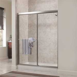 Foremost TDSS4870-RN-BN Tides 44 in. to 48 in. x 70 in. H Framed Sliding Shower Door in Brushed Nickel and Rain Glass