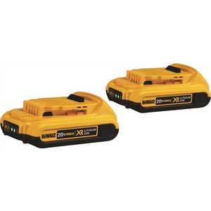 DEWALT DCB203-2 20-Volt MAX Lithium-Ion Compact Battery Pack 2.0Ah Black, Yellow Pack of 2