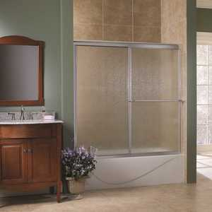 Foremost TDST6058-RN-SV Tides 56 in. to 60 in. x 58 in. H Framed Sliding Tub Door in Silver with Rain Glass