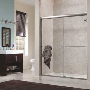 Foremost CVSS4872-CL-SV Cove 48 in. x 72 in. H Semi-Framed Sliding Shower Door in Silver with 1/4 in. Clear Glass