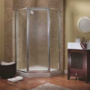 Foremost TDNA0470-OB-SV Tides 16-3/4 in. x 24 in. x 16-3/4 in. x 70 in. Framed Neo-Angle Shower Door in Silver and Obscure Glass
