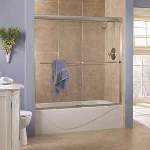 Foremost CVST6060-CL-SV Cove 60 in. x 60 in. Semi-Framed Sliding Tub Door in Silver with 1/4 in. Clear Glass