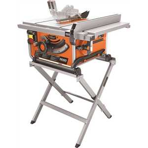 RIDGID R45171 15 Amp Corded 10 in. Compact Table Saw with Carbide Tipped Blade and Folding X-Stand Orange