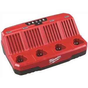 Milwaukee 48-59-1204 M12 12-Volt Lithium-Ion 4-Port Sequential Battery Charger Red