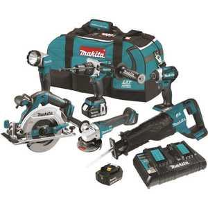Makita XT611PT 18-Volt 5.0Ah LXT Brushless Kit Hammer Driver Drill/ Impact Driver/ Recipro Saw/ Circ Saw /Grinder Flashlight Teal