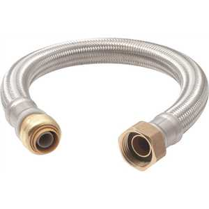 SharkBite u3068flex12lf 1/2 in. Push-to-Connect x 3/4 in. FIP x 12 in. Braided Stainless Steel Water Heater Connector