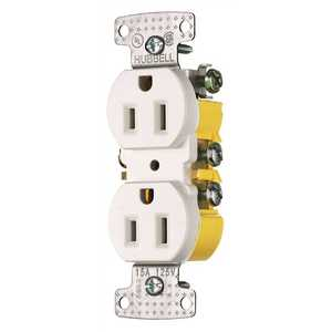HUBBELL WIRING RR15W 15 Amp Push Terminal Duplex Receptacle, White