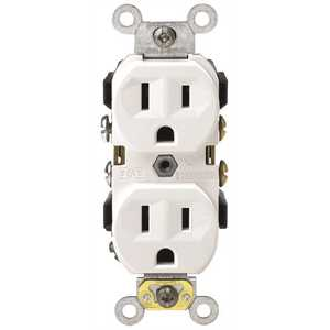 Leviton CR15-W 15 Amp 125-Volt Narrow Body Duplex Outlet Straight Blade Commercial Grade Self Grounding Side Wired, White