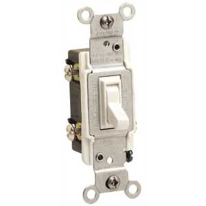 Leviton 2653-2I 3-WAY RESIDENTIAL GRADE CO/ALR AC QUIET TOGGLE SWITCH, IVORY, 120 VOLTS, 15 AMPS