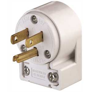 Leviton 515AN 15 Amp 125-Volt Commercial Grade Straight Blade Angle Plug, White