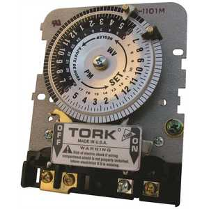 Tork 1101BM-IAP 24-Hour SPST Indoor Mechanical Timer Mechanism and IAP Adapter Plate, Grey grey with adaptor plate