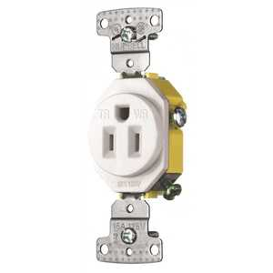 HUBBELL WIRING RR151WWRTR 15 Amp Self Grounding Tamper Proof and Weather Proof Receptacle, White