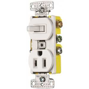 HUBBELL WIRING RC108W 15 Amp 1-Pole Combo Switch Receptacle, White