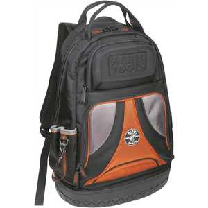 Klein Tools 55421BP-14 20 in. Tradesman Pro Organizer Black Tool Backpack Black and orange with a bright orange interior