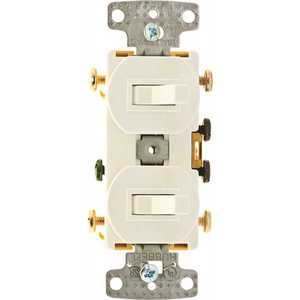 HUBBELL WIRING RC303W 15 Amp Combo 2 to 3-Way Toggles Switch, White