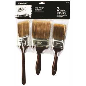 PRIVATE BRAND UNBRANDED A227 2 in. Flat Cut, 3 in. Flat Cut and 2 in. Angled Sash Utility Paint Brush Set