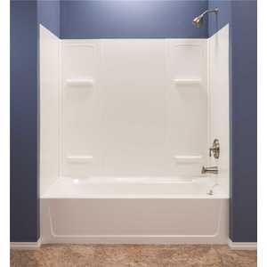 Mustee 950 Durawall 30 in. x 60 in. x 55 in. Easy Up Adhesive Alcove Tub Surround in White