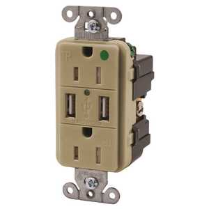 Hubbell, Inc USB8200I HUBBELL TAMPER RESISTANT HOSPITAL GRADE USB CHARGER DUPLEX RECEPTACLE, 15 AMP, IVORY