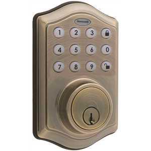 Honeywell Safety 8712109 Electronic Keypad Antique Brass Single Cylinder Deadbolt Lock