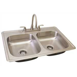 WATERFRONT TWO HANDLE KITCHEN FAUCET AND SINK KIT