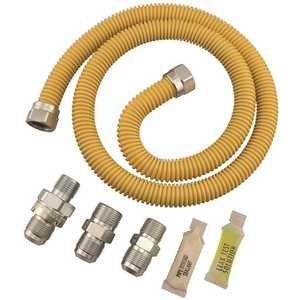 Dormont XL30C-313MV6KIT-48B 5/8 In Od, 1/2 In Id, Ss Connector, 1/2 In Mip X 1/2 In Mip Efv, 48 In Length, Yellow Coated