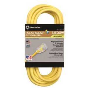 Southwire 17880002 50 ft. 10/3 SJEOW Outdoor Heavy-Duty T-Prene Extension Cord with Power Light Plug Yellow