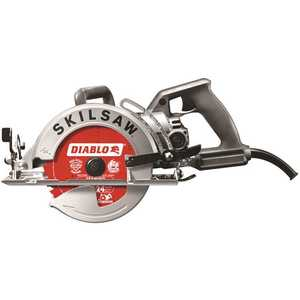 SKILSAW SPT77W-22 15 Amp Corded Electric 7-1/4 in. Aluminum Worm Drive Circular Saw with 24-Tooth Carbide Tipped Diablo Blade