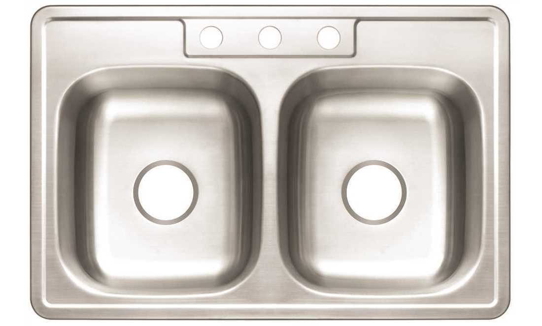 Premier 3562900 Drop-In Stainless Steel Kitchen Sink 33 in. 3-Hole Double  Bowl Kitchen Sink with Brush Finish