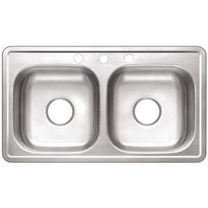 Premier VT3319A06-3 Drop-In Stainless Steel 33 in. 3-Hole Mobile Home Double Bowl Kitchen Sink