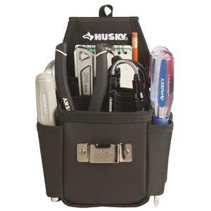Husky HD00130 6.7 in. 3-Pocket Black Utility Plus Tool Pouch