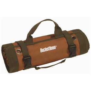 Bucket Boss 74004 26 in. 6 Zippered Pockets Super Roll Tool Bag in Brown