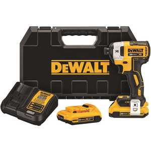 DEWALT DCE531M1 20-Volt MAX XR Lithium-Ion Cordless Brushless 1/4 in. 3-Speed Impact Driver with (2) Batteries 2Ah, Charger and Case Yellow