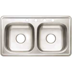 Premier VT3319A06-4 Drop-In Stainless Steel 33 in. 4-Hole Mobile Home Double Bowl Kitchen Sink