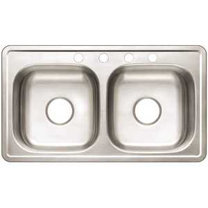 Premier VT3319A08-4 Drop-In Stainless Steel 33 in. 4-Hole Mobile Home Double Bowl Kitchen Sink