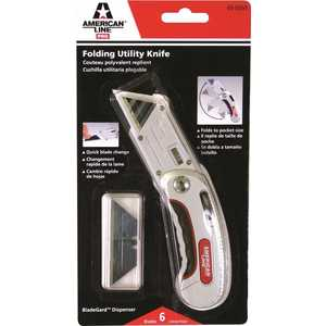 American Line 65-0203-0000 FOLDING UTILITY KNIFE, WITH 5 BLADES