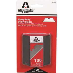 American Line 66-0240-0000 TWO NOTCH UTILITY BLADES, WITH SAFETY DISPENSER - pack of 100