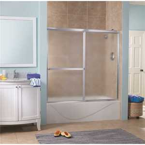 Foremost LKST6055-OB-SV Lakeside 56 in. - 60 in. W x 58 in. H Framed Bypass Shower Door in Silver and Obscure Glass without Handle