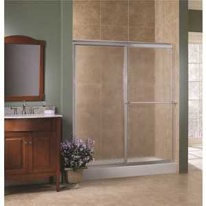Foremost TDSS6070-OB-SV Tides 56 in. to 60 in. x 70 in. H Framed Sliding Shower Door in Silver and Obscure Glass without Handle