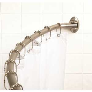 Premier 35607BNIL 56 in. - 72 in. Neverrust Adjustable Curved Shower Rod Exposed Mount in Brushed Nickel